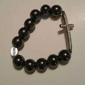 Jewelry - Sparkle Stretchy  Cross Bracelet  says Faith